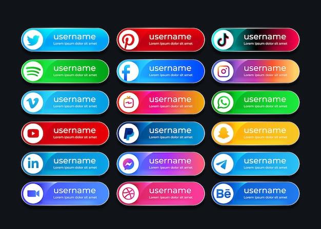 Kolekcja Ikon Mediów Społecznościowych Na Baner Internetowy Premium Wektorów