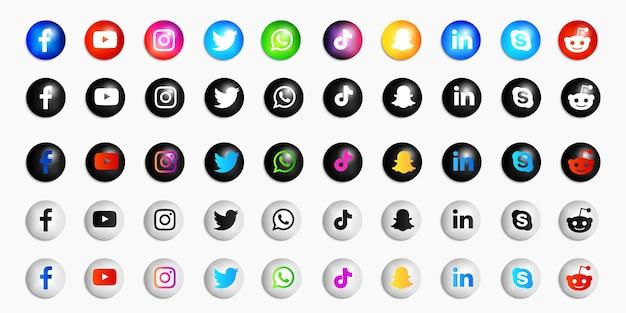 Kolekcja ikon mediów społecznościowych