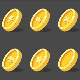 Kolekcja ikon monet zestaw elementów interfejsu użytkownika do gry mobilnej lub aplikacji