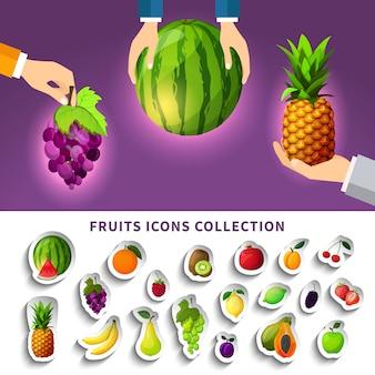 Kolekcja ikon owoców