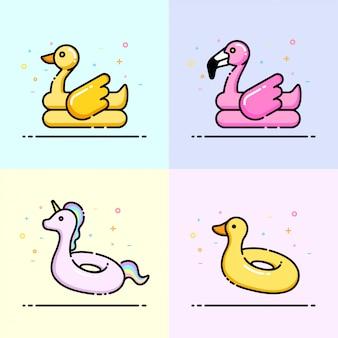 Kolekcja ikon pierścień pływania zwierząt w pastelowym kolorze