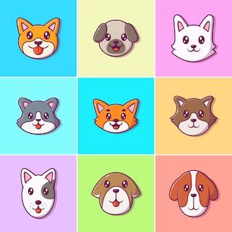Kolekcja ikon pies ładny twarz. rasa psiej twarzy. koncepcja ikona zwierzę na białym tle