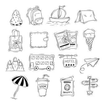 Kolekcja ikon podróży z czarno-białe doodle lub ręcznie rysowane stylu