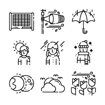 Kolekcja ikon pogody cienka linia