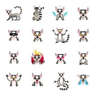 Kolekcja ikon połowy małpy