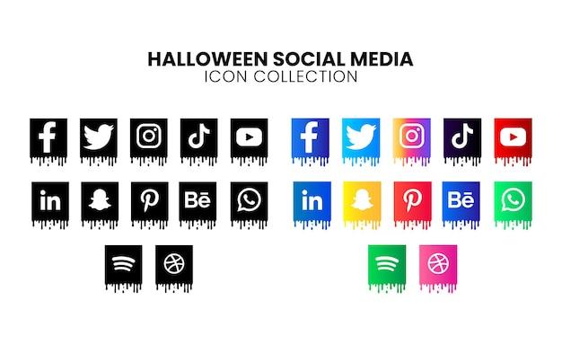 Kolekcja ikon popularnych mediów społecznościowych na halloween