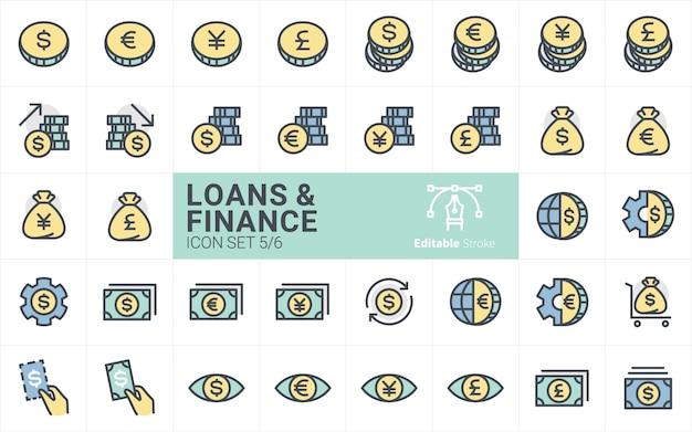 Kolekcja ikon pożyczek i finansów ze stylem obrysu konturu vol.5