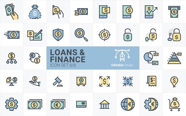 Kolekcja ikon pożyczki i finanse ze stylem obrysu konturu vol.6