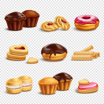 Kolekcja ikon produktów cukierniczych