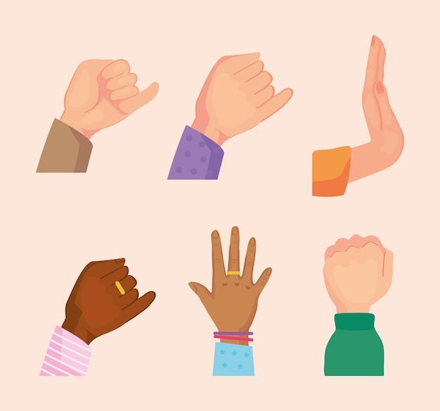 Kolekcja ikon przyjaźni ręce
