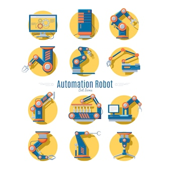 Kolekcja ikon robotów przemysłowych