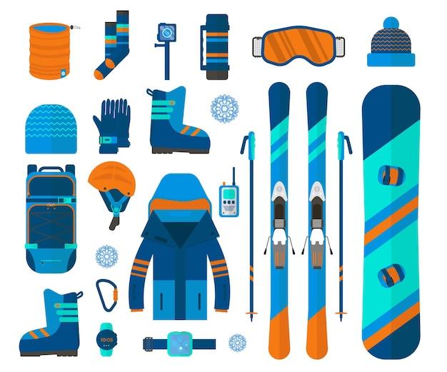 Kolekcja ikon sportów zimowych. narty i snowboard zestaw sprzętu na białym tle na białym tle w stylu płaski. elementy obrazu ośrodek narciarski, zajęcia górskie, ilustracji wektorowych.