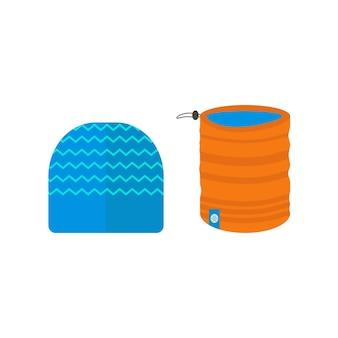 Kolekcja ikon sportów zimowych z szalikiem i czapką