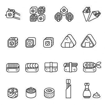 Kolekcja ikon sushi żywności