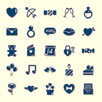 Kolekcja ikon walentynki