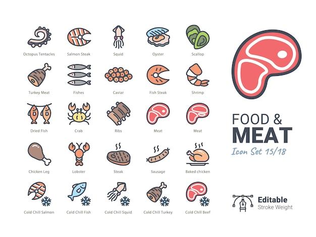 Kolekcja ikon wektor żywności i mięsa