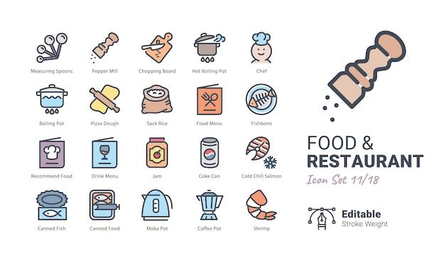 Kolekcja ikon wektorowych żywności i restauracji