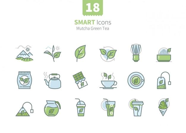 Kolekcja ikon zielonej herbaty matcha
