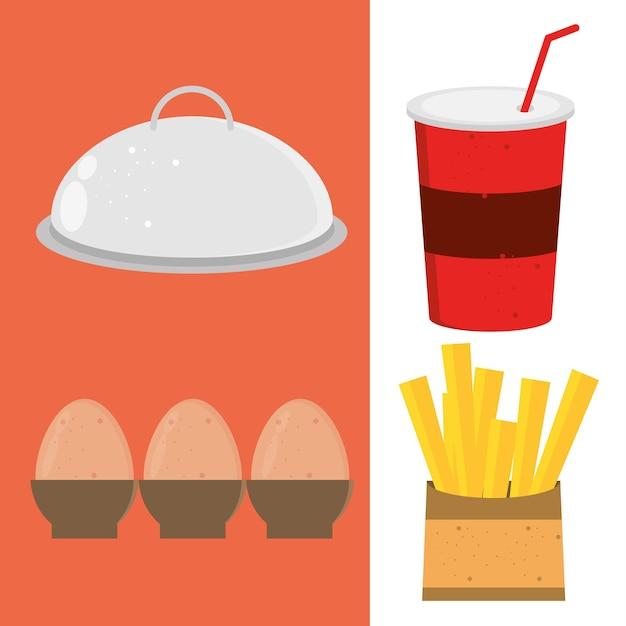 Kolekcja ikon żywności