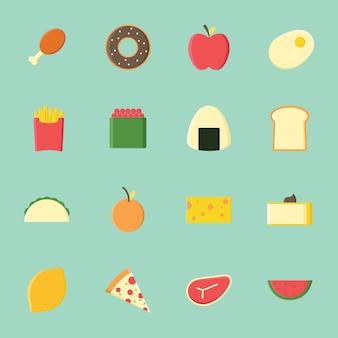 Kolekcja ikon żywnościowych płaski