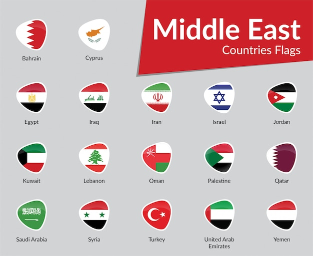 Kolekcja ikona flaga państw bliskiego wschodu