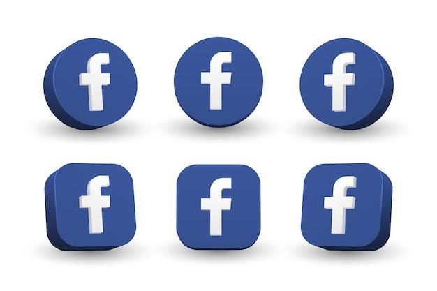 Kolekcja ikona logo facebook na białym tle