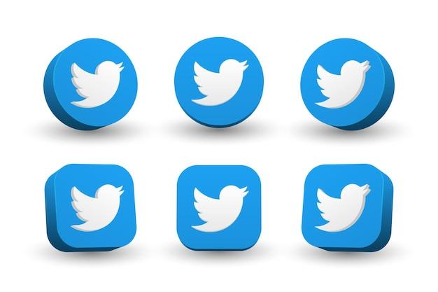 Kolekcja ikona logo twitter na białym tle