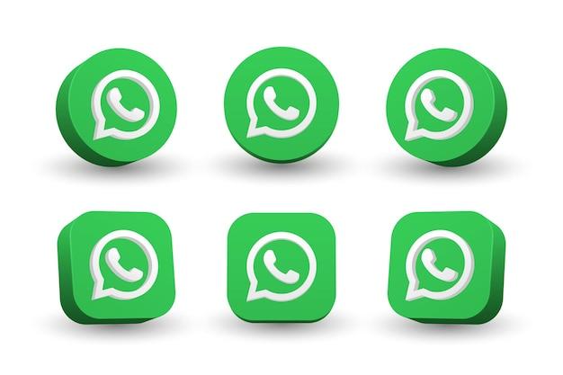 Kolekcja ikona logo whatsapp na białym tle