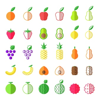 Kolekcja ikona płaskie owoce