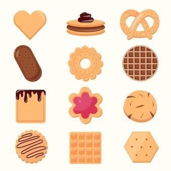 Kolekcja ikona plik cookie i herbatniki izolowana na białym tle. pyszne ciasteczka ilustracja kreskówka słodkie jedzenie.