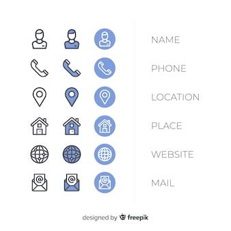 Kolekcja ikona wizytówki