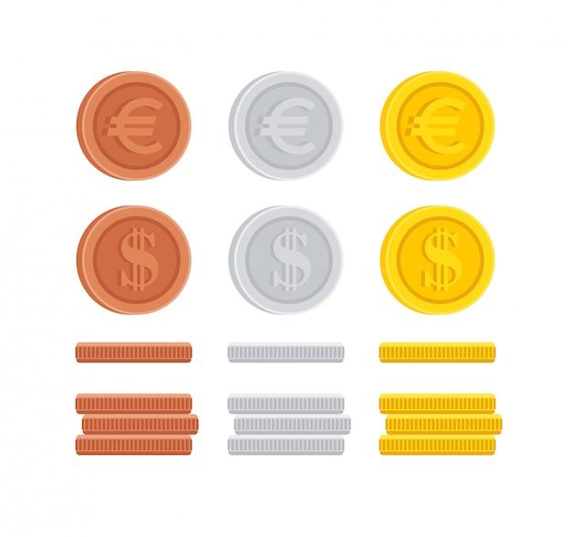 Kolekcja ikona znak dolara i monety euro centów