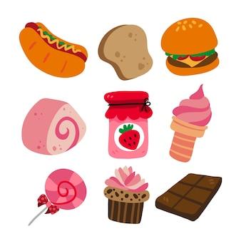 Kolekcja ikona żywności