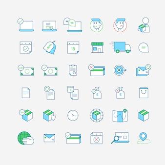 Kolekcja ikony biznesu i zakupów