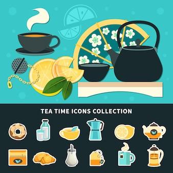Kolekcja ikony czas na herbatę