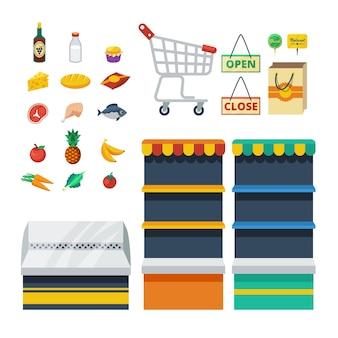 Kolekcja ikony dekoracyjne supermarketu