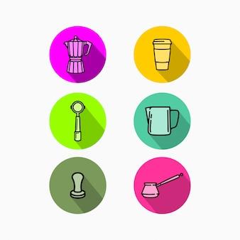 Kolekcja Ikony Flan Coffee Shop Premium Wektorów