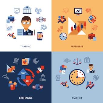 Kolekcja ikony handlu i rynków finansowych