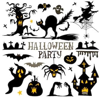 Kolekcja ikony i postaci halloween sylwetki.