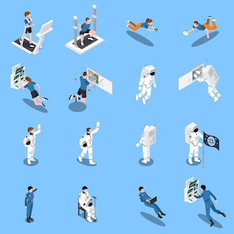 Kolekcja ikony izometryczny astronautów