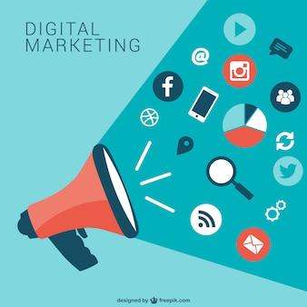 Kolekcja ikony marketingu cyfrowego