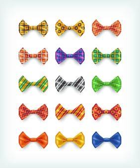 Kolekcja ikony muszki. ilustracje krawatów w różnych kolorach i wzorach