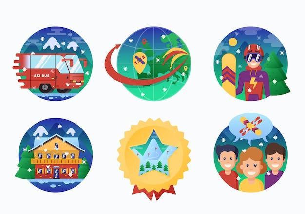 Kolekcja ikony ośrodek narciarski lub snowboardowy. koło banery instruktora snowboardu
