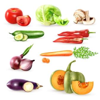 Kolekcja ikony ozdobne warzywa