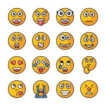 Kolekcja ikony płaski wektor emojis
