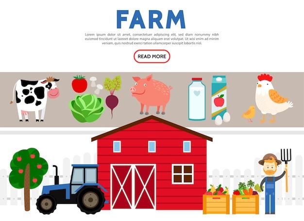 Kolekcja ikony płaskie rolnictwa