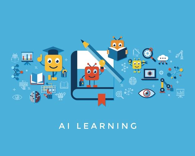 Kolekcja ikony samouczenia sztucznej inteligencji