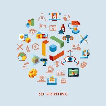 Kolekcja ikony technologii druku 3d