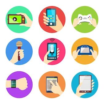 Kolekcja ikony urządzeń technologiczny