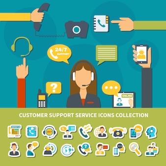 Kolekcja ikony usługi obsługi klienta